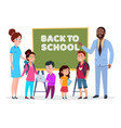 teachers and students back to school vector image vector image