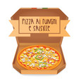 the real pizza ai funghi e salsicce pizza with vector image vector image