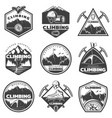 vintage monochrome mountain climbing labels set vector image vector image
