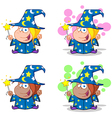 Wizard Girl Waving With Magic Wand Collection vector image