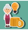 woman bit coin idea vector image