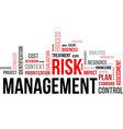 word cloud risk management vector image vector image