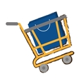 yellow shopping cart online papper bag gift sketch vector image