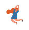 young happy woman with long red hair wearing blue vector image vector image