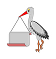 A stork holding a big blank paper in his beak vector image
