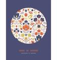 Ornamental folk tulips circle frame pattern vector image