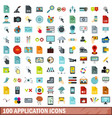 100 application icons set flat style vector image