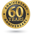 60 years anniversary gold label vector image vector image