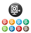 action camera icons set color vector image vector image