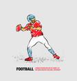 american football quarterback throws ball vector image vector image