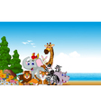 animal cartoon collection with beach background vector image vector image