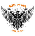 biker power ride or die human skull on winged vector image