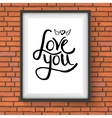 Black Text Design for Love You Concept on a Frame vector image vector image