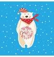 Christmas card with polar bear vector image