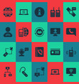 communication icons set with user relationship vector image