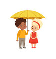 cute little kids standing together under yellow vector image