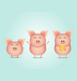 cute pig with gold cartoon vector image vector image