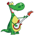 Dinosaur Plays A Guitar vector image vector image