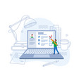 e-learning online exam student writing test laptop vector image