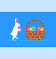 easter bunny with easter egg about basket vector image