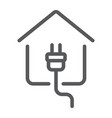 electricity home line icon real estate and home vector image vector image