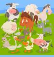farm animals on meadow cartoon vector image vector image