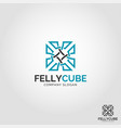 felly cube - abstract square logo vector image