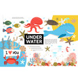 flat underwater life infographic template vector image