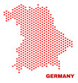 germany map - mosaic of valentine hearts vector image vector image