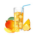 glass fresh juice with ice cubes mango and vector image