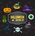 halloween traditional elements set vector image
