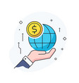 hand holding a globe virtual communication vector image vector image