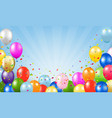 happy birthday card and balloons blue background vector image