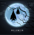 happy halloween sleeping bat in tree on moon vector image vector image