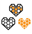 honeycomb icon design on white background vector image vector image