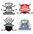 Ice hockey cup champions labels and emblems vector image vector image