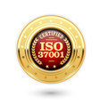 iso 37001 certified medal - anti bribery managemen vector image vector image