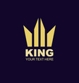 king crown logotype gold style for beauty and vector image vector image