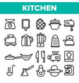 kitchenware line icon set home kitchen vector image vector image