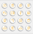 linear icons kitchen appliances on white round vector image vector image