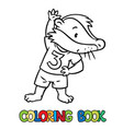 little funny badger doing exercises coloring book vector image vector image