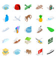 long shot icons set isometric style vector image vector image