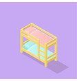 low poly isometric kids bed vector image vector image