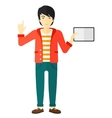 man holding tablet computer vector image vector image