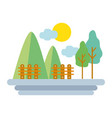 mountains with grid wood and trees vector image vector image