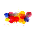 multi colored ink blots isolated on white vector image