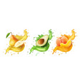 pear avocado peach fresh fruits and splashes vector image vector image