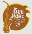 poster for live music concert with a saxophone vector image vector image
