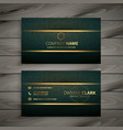 premium golden green vintage style business card vector image vector image