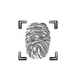 scanned fingerprint in the frame hand drawn vector image